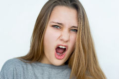 Teenager girl emotional posing isolated Stock Image