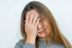 Teenager girl emotional posing isolated Royalty Free Stock Images