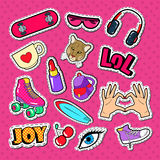 Teenager Girl Fashion Badges, Patches and Stickers. Girlish Style Doodle with Lipstick, Eyeglasses and Skateboard. Vector illustration royalty free illustration