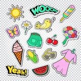 Teenager Girl Fashion Stickers, Badges and Patches. Girlish Doodle with Clothes, Ice Cream and Bird. Vector illustration stock illustration
