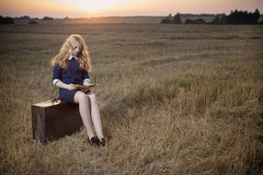 Teenager girl on field at sunset. The teenager girl on field at sunset Stock Photo