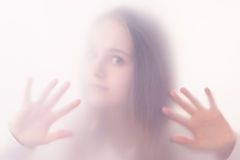 The teenager girl in a fog Royalty Free Stock Photos