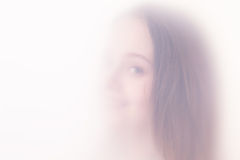 The teenager girl in a fog royalty free stock photography