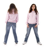 Teenager Girl. Front And Back. Stock Photography