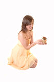 Teenager girl with gift. Royalty Free Stock Photos