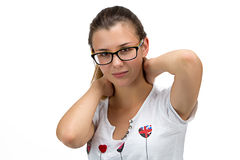 Teenager girl with glasses looking at camera Stock Photos