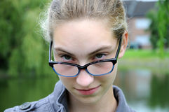 Teenager girl with glasses Stock Photography