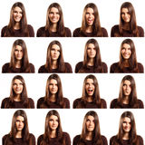 Teenager girl grimacing set isolated on white Royalty Free Stock Images