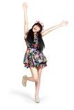 Teenager girl happy raised her arm, Stock Photo