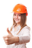 Teenager girl in a hardhat Stock Photography