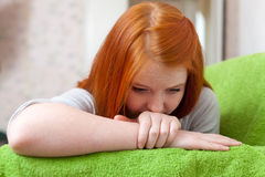 Teenager girl  having disappointment. In first love at home Royalty Free Stock Photos