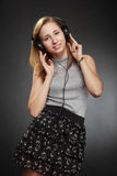 Teenager girl  with headphones Stock Photo