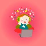 Teenager girl headphones laptop Royalty Free Stock Photography