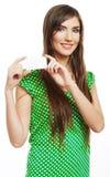 Teenager girl hold white blank paper. Stock Image