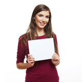 Teenager girl hold white blank paper Royalty Free Stock Photo