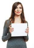 Teenager girl hold white blank paper. Stock Image
