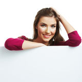 Teenager girl hold white blank paper Stock Photos