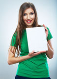 Teenager girl hold white blank paper. Young smilin Stock Images
