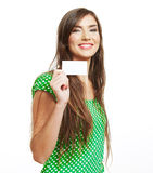 Teenager girl hold white blank paper Stock Photo