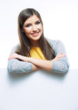 Teenager girl hold white blank paper Royalty Free Stock Image