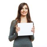 Teenager girl hold white blank paper. Stock Photo