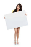 Teenager girl holding banner Stock Photography