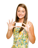 Teenager girl holding blank business card Royalty Free Stock Photography