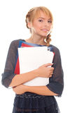 Teenager girl holding folders and paper Stock Images
