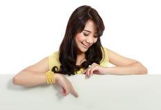 Teenager girl holding white board Stock Image