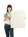 Teenager girl  holds  poster Royalty Free Stock Photo
