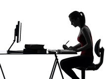 Teenager girl homework studying silhouette Royalty Free Stock Photos