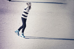 Teenager girl at the ice rink stock photography