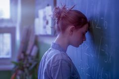 Free Teenager Girl In Math Class Overwhelmed By The Math Formula. Pressure, Education Concept. Stock Image - 113645601