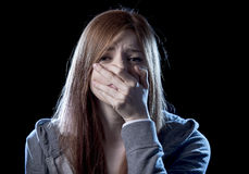 Free Teenager Girl In Stress And Pain Suffering Depression Sad And Scared In Fear Face Expression Stock Image - 69487541