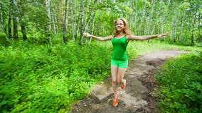 Teenager Girl Jogging in Park stock video footage