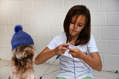 Teenager girl knits for her dog Royalty Free Stock Photos