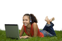 Teenager girl at the laptop. (summer Royalty Free Stock Photo