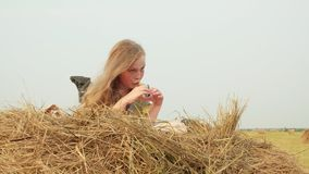 Teenager Girl Lay on Haystack Beautiful Sunny Day
