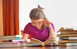 Teenager girl learning Royalty Free Stock Images