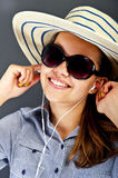 Teenager girl listing music Royalty Free Stock Images