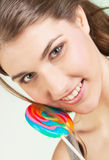 Teenager girl with lollipop Stock Photography