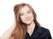 Teenager girl with long hairs Royalty Free Stock Image