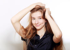 Teenager girl with long hairs Royalty Free Stock Images