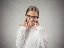 Teenager girl making fake smiling face Stock Photos