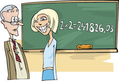 Teenager girl with math problem Royalty Free Stock Image