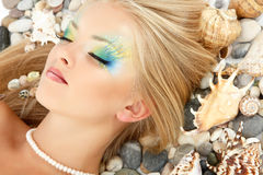 Teenager girl mermaid beautiful make-up Stock Photos