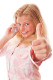 Teenager girl and mobile phone Royalty Free Stock Photo