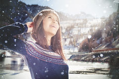 Teenager girl opposite of ice skating rink, outdoor. Healthy lifestyle royalty free stock image