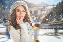 Teenager girl opposite of ice skating rink, outdoor. Winter activities royalty free stock photos