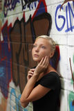 Teenager girl outdoors royalty free stock photos